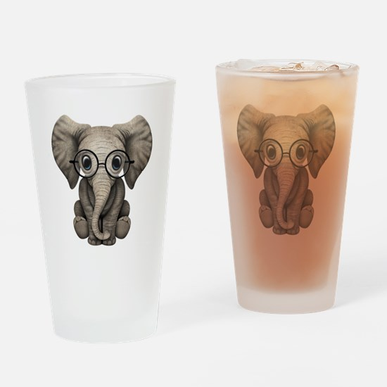 Cute Baby Elephant Calf with Reading Glasses Drink