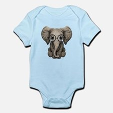 Cute Baby Elephant Calf with Reading Glasses Body