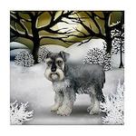 STANDARD SCHNAUZER DOG WINTER SUNSET Tile Coaster