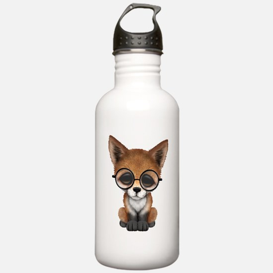 Cute Red Fox Cub Wearing Glasses Water Bottle