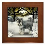 STANDARD SCHNAUZER DOG WINTER SUNSET Framed Tile