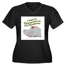 Christmas Hippo Women's Plus Size V-Neck Dark T-Sh
