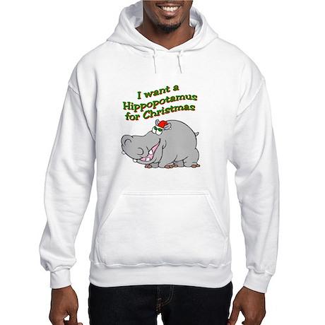 Christmas Hippo Hooded Sweatshirt