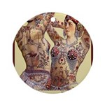 Maud Arizona Vintage Tattooed Lady Print Round Orn