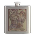 Maud Arizona Vintage Tattooed Lady Print Flask