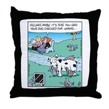 Dog Worm Check Throw Pillow