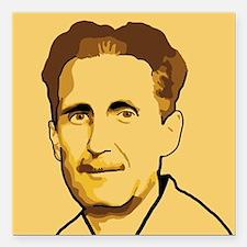 "George Orwell Square Car Magnet 3"" x 3"""