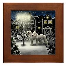BEDLINGTON TERRIER DOGS SNOW CITY Framed Tile