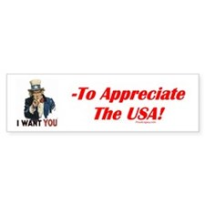 """Appreciate the USA"" Bumper Bumper Bumper Sticker"
