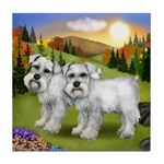 SCHNAUZER DOGS FALL DAY Tile Coaster