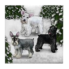 WHITE, BLACK, STANDARD SCHNAUZER DOGS Tile Coaster