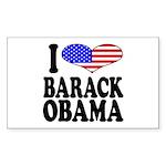 I Love Barack Obama Rectangle Sticker