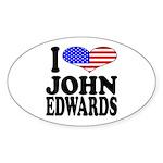 I Love John Edwards Oval Sticker