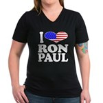 I Love Ron Paul Women's V-Neck Dark T-Shirt
