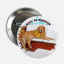 "Boating Golden Retriever 2.25"" Button"