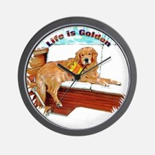 Boating Golden Retriever Wall Clock