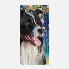 Border Collie Painting Beach Towel