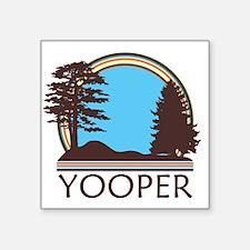 "Vintage Retro Yooper Square Sticker 3"" x 3"""