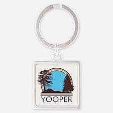 Vintage Retro Yooper Square Keychain
