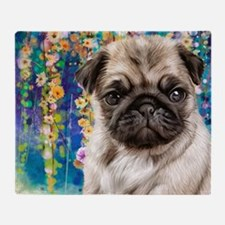 Pug Painting Throw Blanket