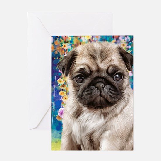 Pug Painting Greeting Cards