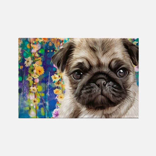 Pug Painting Magnets