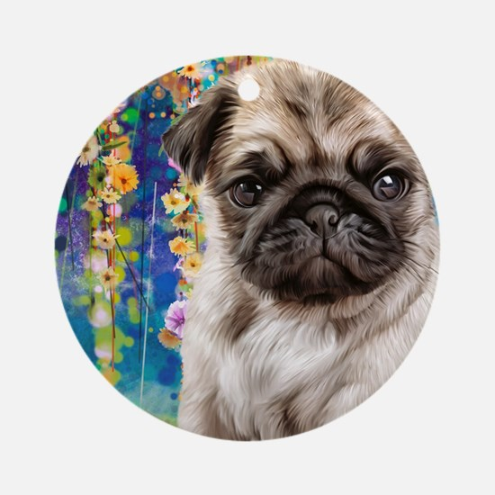 Pug Painting Round Ornament