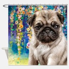 Pug Painting Shower Curtain