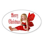 Christmas Faery Oval Sticker