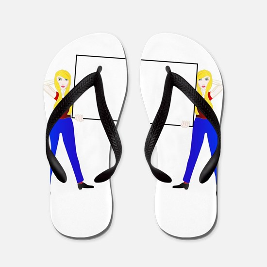 Two Girls With Large Sign Flip Flops