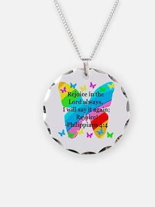 PHILIPPIANS 4:4 Necklace Circle Charm