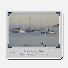 Sunrise Boats in the Mist Mousepad