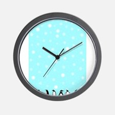Penguins In A Blizzard Wall Clock