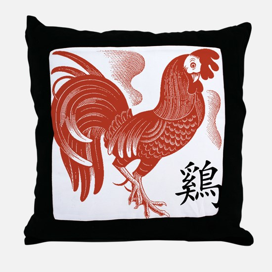 Chinese Zodiac Rooster Papercut Throw Pillow