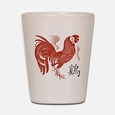 Chinese Zodiac Rooster Papercut Shot Glass