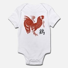 Chinese Zodiac Rooster Papercut Infant Bodysuit