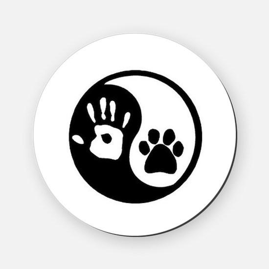Ying Yang Paw Hand Round Coaster
