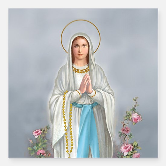 """Blessed Virgin Mary Square Car Magnet 3"""" x 3"""""""