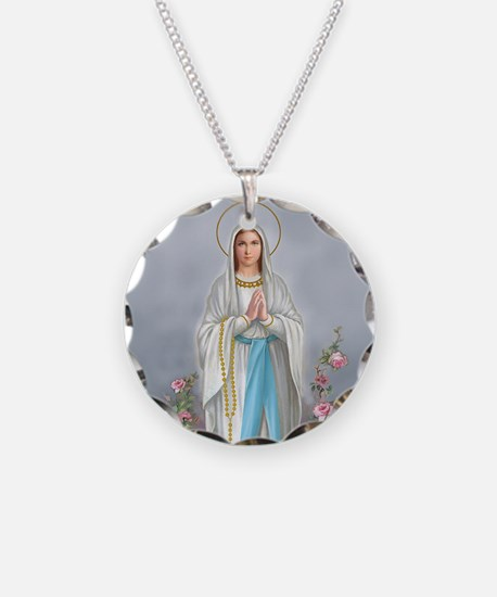 Blessed Virgin Mary Necklace Circle Charm
