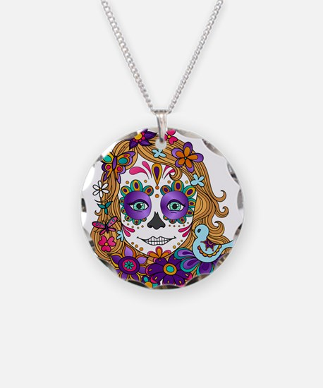 Best Seller Sugar Skull Necklace Circle Charm