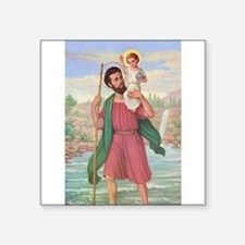"St. Christopher Square Sticker 3"" x 3"""