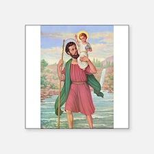 "St. Christopher Square Sticker 3"" x 3"""