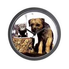 Border Terrier and Rat Wall Clock