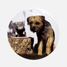 Border Terrier and Rat Ornament (Round)