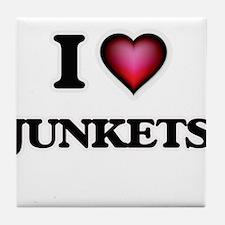 I Love Junkets Tile Coaster