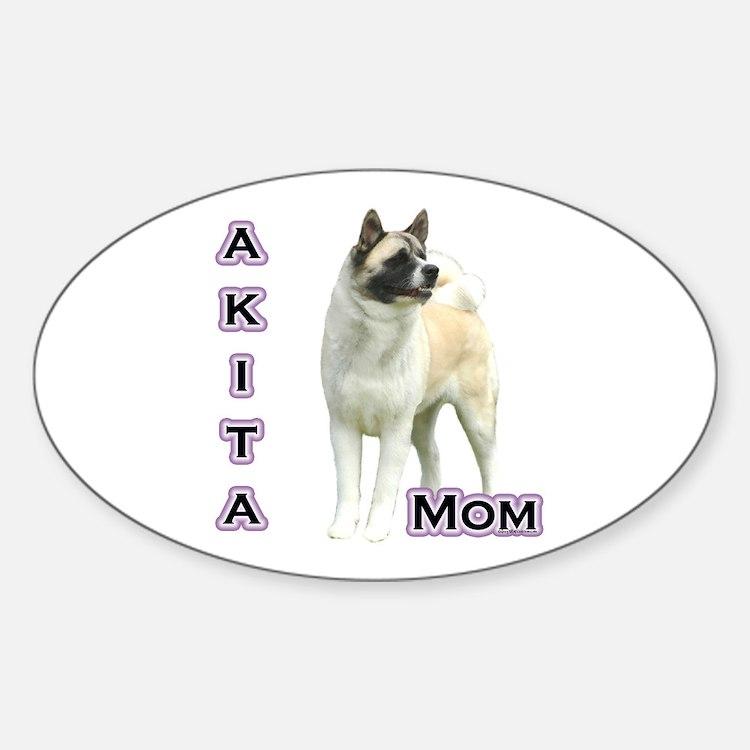 Akita Mom4 Oval Decal