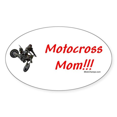 """Motocross Mom"" Oval Sticker"