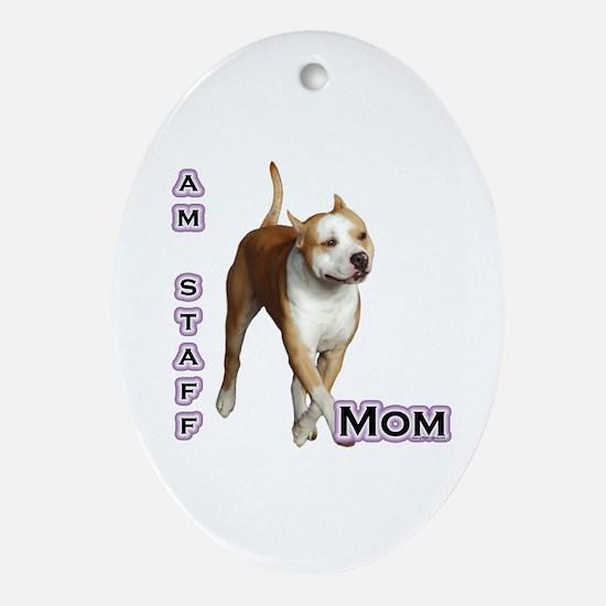 Staffy Mom4 Oval Ornament