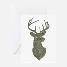 Buck Silhouette in Grunge Camo Texture Greeting Ca