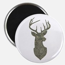 Buck Silhouette in Grunge Camo Texture Magnets
